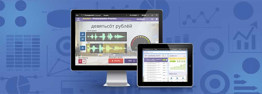 Language learning software on a computer and tablet
